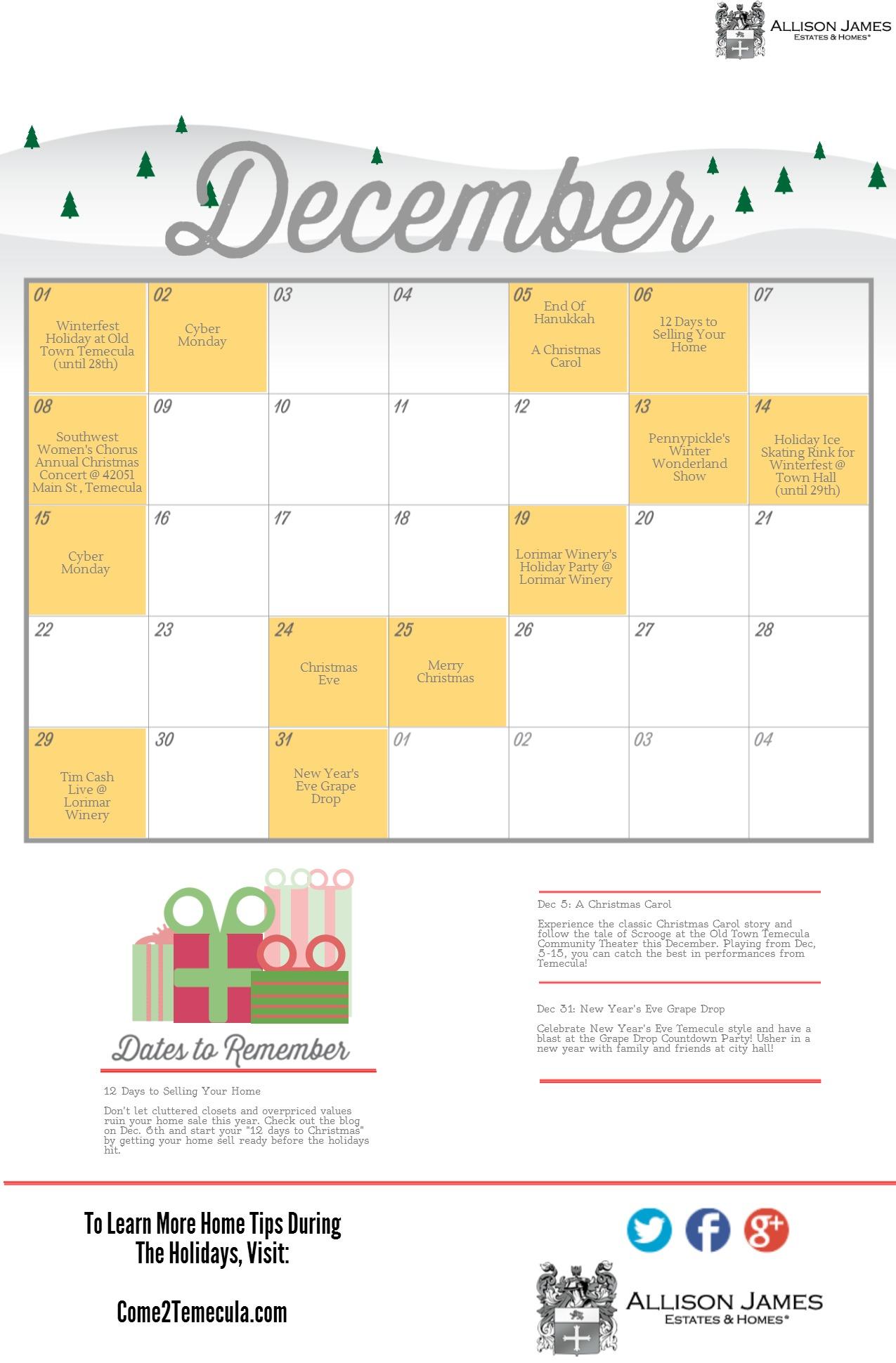 Temecula CA Holiday Calendar